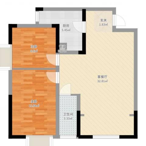 四季花园2室2厅1卫1厨80.00㎡户型图