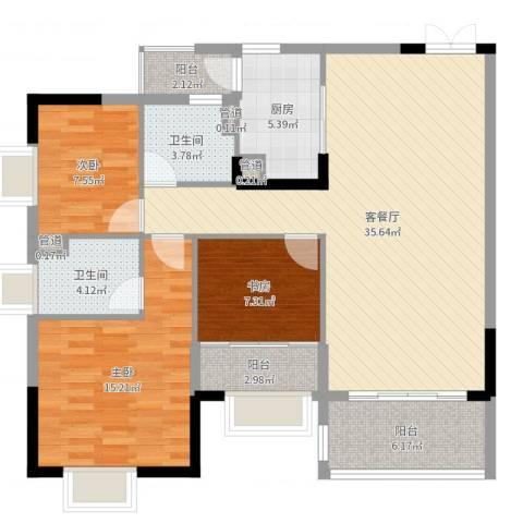 盛天龙湾3室2厅2卫1厨113.00㎡户型图