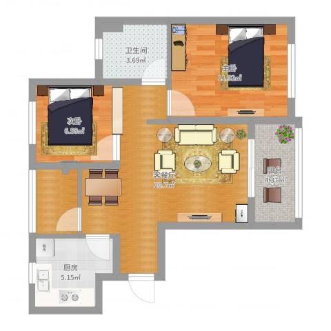 浦江馨都2室2厅1卫1厨69.00㎡户型图