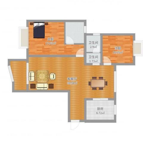 太仓浏河东方花园2室2厅2卫1厨111.00㎡户型图