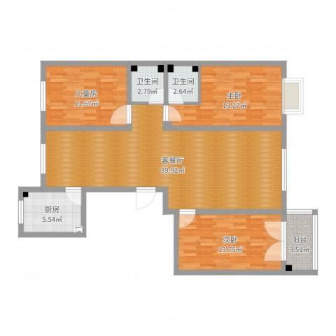 盛华苑小区3室2厅2卫1厨116.00㎡户型图