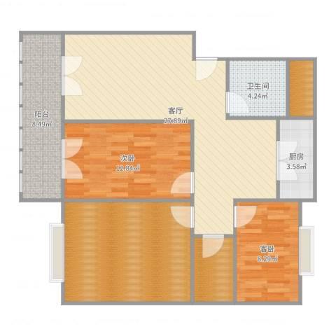 阳海景怡2室1厅1卫1厨109.00㎡户型图