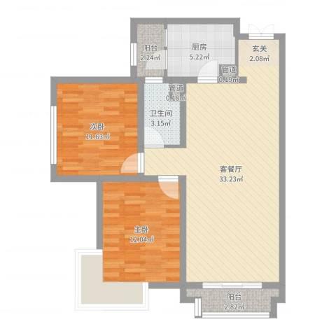 天庆格林小镇2室2厅1卫1厨88.00㎡户型图