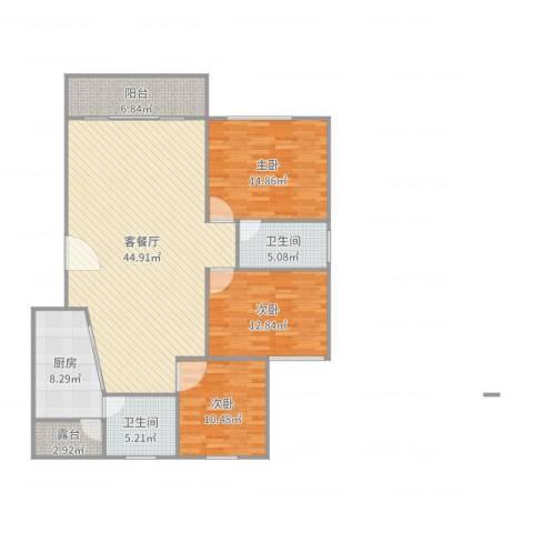 恒福湖景湾3室2厅2卫1厨139.00㎡户型图