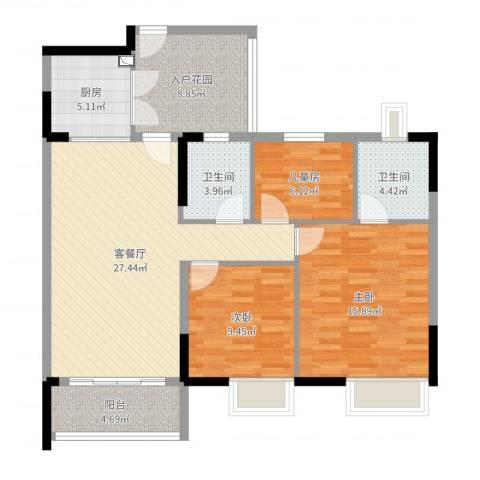 丽港城3室2厅2卫1厨107.00㎡户型图
