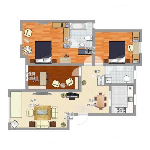 天恒王府3室2厅2卫1厨127.00㎡户型图