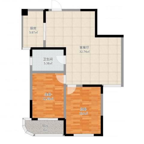 博时海岸星城2室2厅1卫1厨90.00㎡户型图