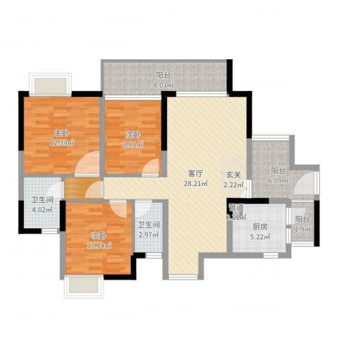 颐澳湾花园3室1厅2卫1厨112.00㎡户型图