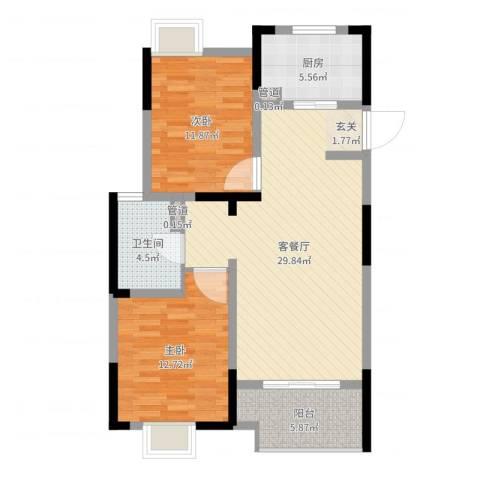 金浦御龙湾2室2厅1卫1厨88.00㎡户型图