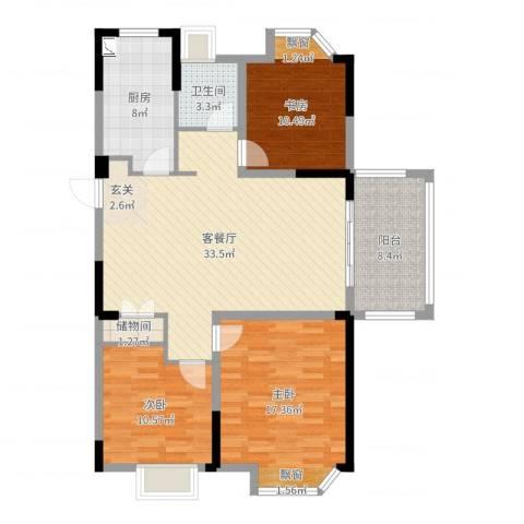 金浦御龙湾3室2厅1卫1厨116.00㎡户型图