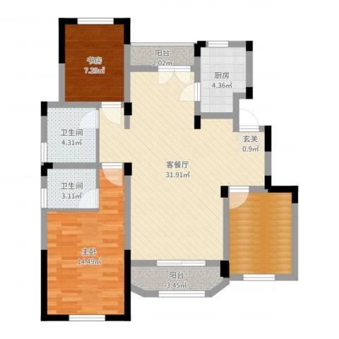 金浦御龙湾2室2厅2卫1厨99.00㎡户型图