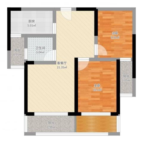 腾瑞・幸福里2室2厅1卫1厨74.00㎡户型图