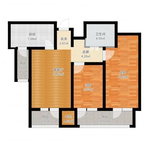 日月天地广场2室2厅1卫1厨96.00㎡户型图