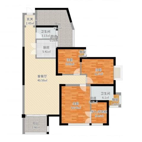 山水湖滨花园二期3室2厅2卫1厨145.00㎡户型图