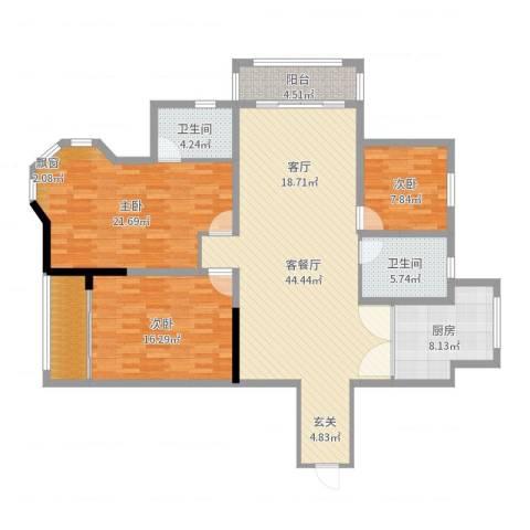 星苏花园3室2厅2卫1厨146.00㎡户型图