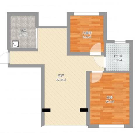 浦江丽都2室1厅1卫1厨58.00㎡户型图