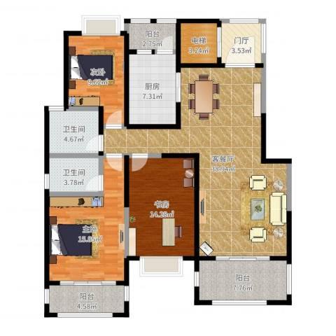 金科王府3室2厅2卫1厨145.00㎡户型图