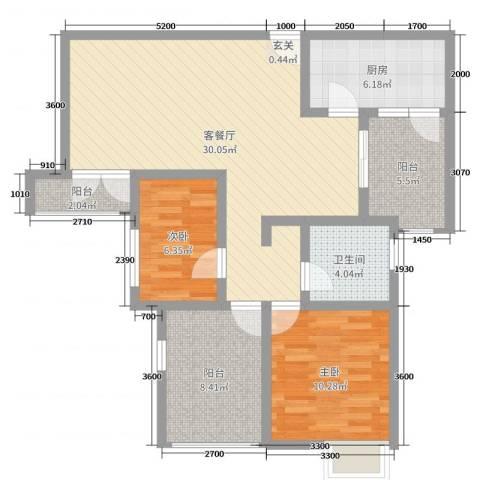比克橄榄湾2室2厅1卫1厨97.00㎡户型图