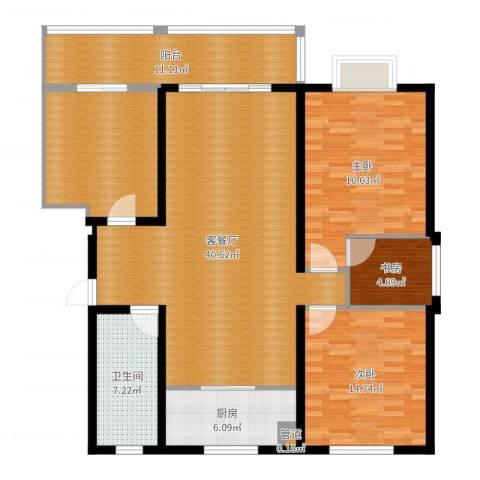 大顺花园3室2厅1卫1厨142.00㎡户型图