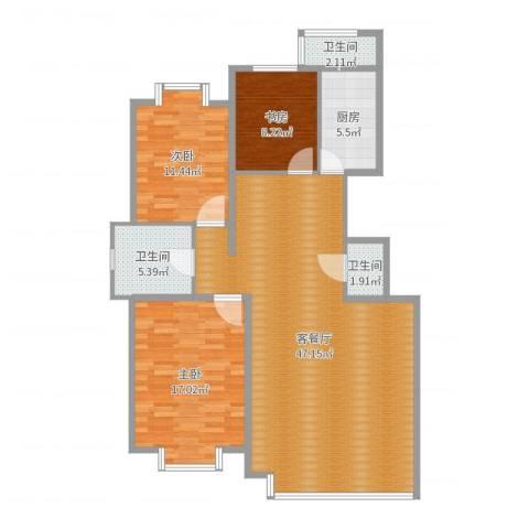 日月华庭二区3室2厅3卫1厨123.00㎡户型图