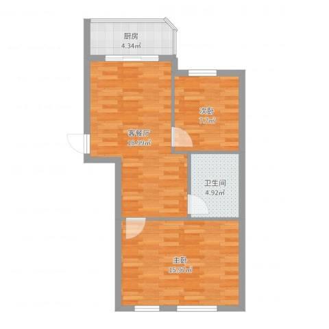 文景清华园2室2厅1卫1厨65.00㎡户型图