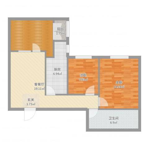 左安浦园2室2厅1卫1厨83.00㎡户型图
