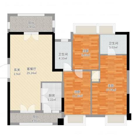 胜球阳光花园3室2厅2卫1厨116.00㎡户型图