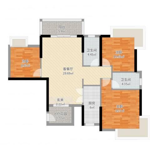 福泰花园3室2厅2卫1厨111.00㎡户型图