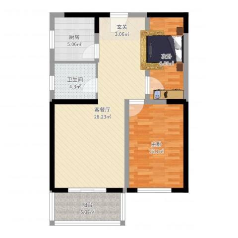 神州河畔景苑2室2厅1卫1厨80.00㎡户型图