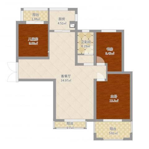 宝信润山3室2厅1卫1厨106.00㎡户型图