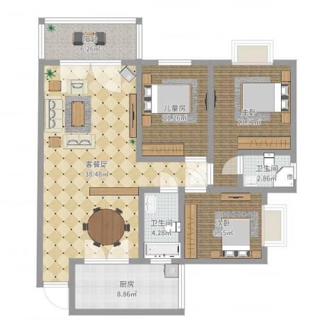 碧云天3室2厅2卫1厨119.00㎡户型图