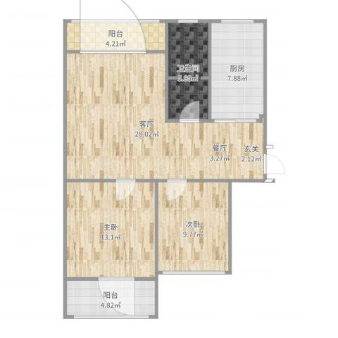 天凯东苑2室1厅1卫1厨92.00㎡户型图