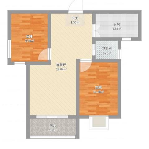 新东方世纪城2室2厅1卫1厨72.00㎡户型图