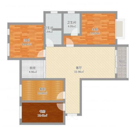 阳光尚居同层现代4室1厅2卫1厨128.00㎡户型图