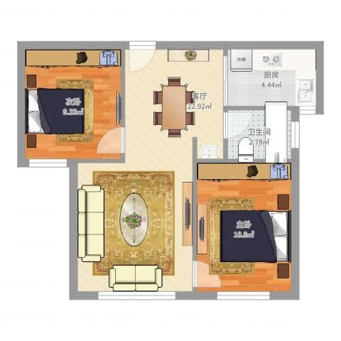 北城春色2室1厅1卫1厨63.00㎡户型图
