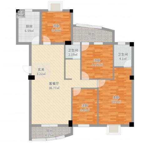 锦华金都4室2厅2卫1厨135.00㎡户型图