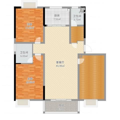 兴业・王府花园二期2室2厅2卫1厨164.00㎡户型图