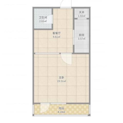 万寿路大件厂宿舍1室2厅1卫1厨51.00㎡户型图