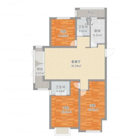 鹏欣・水游城3室2厅2卫1厨134.00㎡户型图