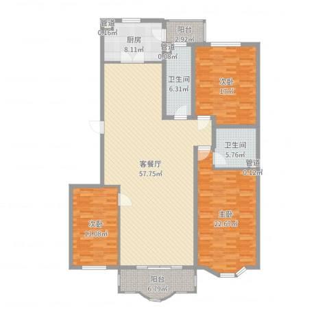 华宇绿洲3室2厅2卫1厨176.00㎡户型图