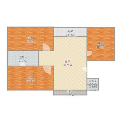 天山花园3室3厅2卫1厨353.00㎡户型图