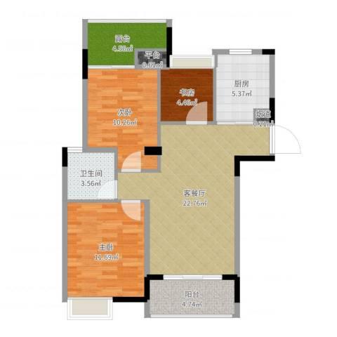 上东领地3室2厅1卫1厨85.00㎡户型图