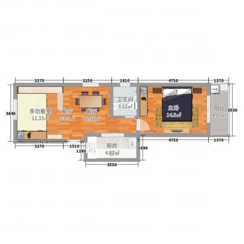 叙康里1室1厅1卫1厨62.00㎡户型图