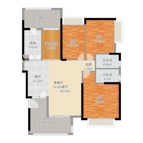 东山一品3室2厅2卫1厨175.00㎡户型图