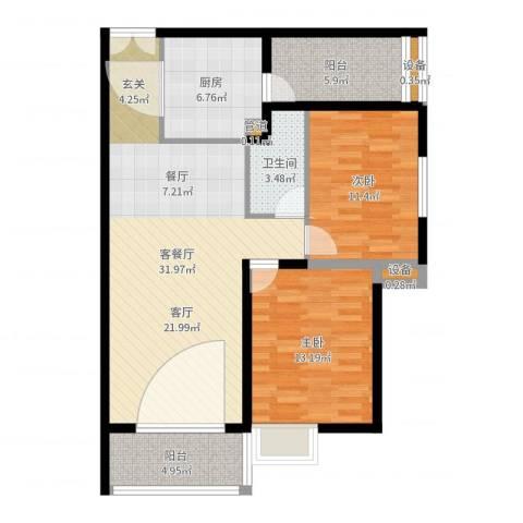 金领家族2室2厅1卫1厨98.00㎡户型图