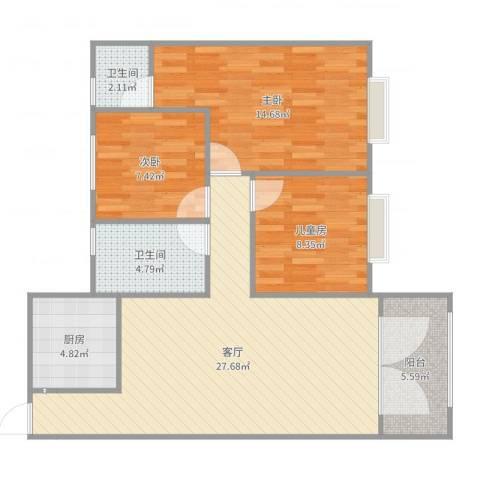 兰亭颖园3室1厅2卫1厨94.00㎡户型图