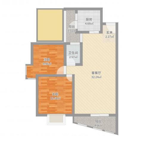 云湖花园2室2厅1卫1厨97.00㎡户型图