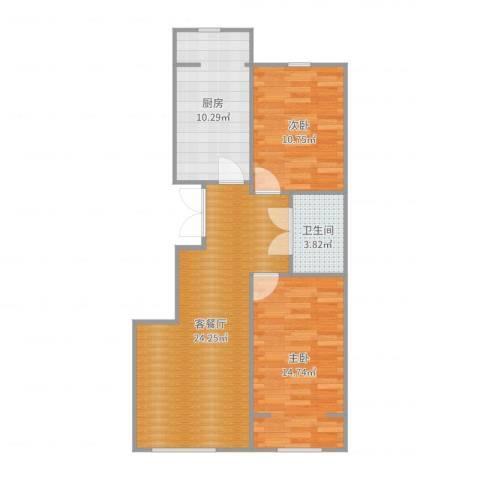 龙云家园2室2厅1卫1厨80.00㎡户型图