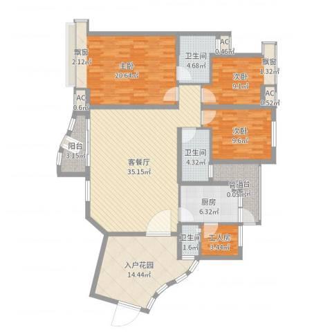 盛世华南3室2厅3卫1厨148.00㎡户型图
