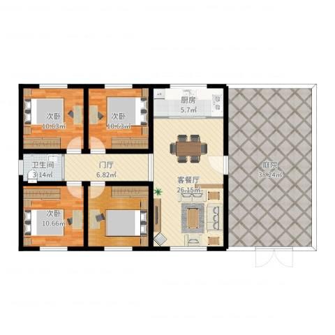 广厦聚隆广场3室2厅1卫1厨153.00㎡户型图